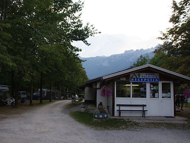 Camping Polovni Bovec in Slovenia - reception desk